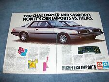 """1983 Dodge Challenger Plymouth Sapporo Vintage Ad """"Our Imports vs. Theirs"""""""