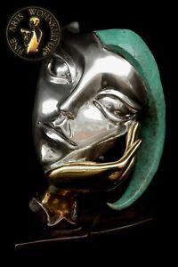 FINE ARTS Wohnkultur Bronze Sculpture Figur Maske Harlequin Theater Statue