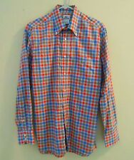 LACOSTE Mens's Sz 40 Long Sleeve Blue Orange Brown Plaid Button Down Shirt-EXC