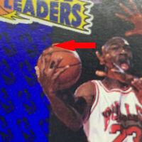 RARE ERROR MICHAEL JORDAN 1991 FLEER #220, BASKETBALL IS SHIFTED ALONG LINE