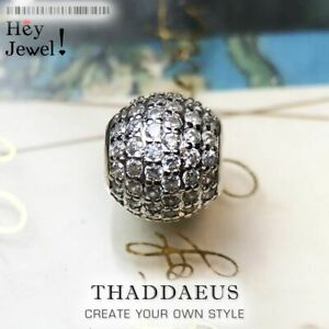 Beads Bracelet Charm With White CZ Pave Sterling Silver DIY Jewelry Accessories