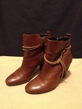 ECCO Brown Soft Leather Side Zip Up Ankle Heel Boots Women's Size 35 US 5