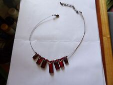 REALLY UNUSUAL PEWTER TONE NECK WIRE WITH RED ACRYLIC DROPS + EXTENDER 40-126