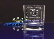 Personalised Jack Daniels engraved Whiskey glass 21/30/40/50 BIRTHDAY gift 244