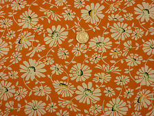 Quilting Fabric Cream Daisies Orange Background 100% Cotton Fat Quarter