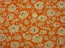 Quilting Fabric Cream Daisy Flowers Orange Background 100% Cotton FQs   OF8