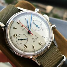 Genuine Seagull St1901 Movement 1963 Pilot Watch Chronograph Mens Acrylic Dial
