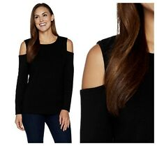 DENIM  &  CO SEXY BLACK COLD  SHOULDER  SWEATER  PULLOVER  KNIT TOP  Sz  L  NEW