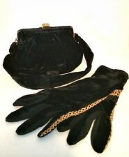 Vintage Evening Bag Matching Gloves Morris Moscowitz Black Velvet Lucite Clasp