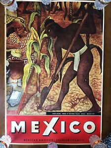 Vintage Mexico Travel Poster Diego Rivera Mexican National Palace Tourism Counci