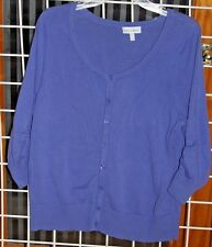 SIZE 0X FASHION BUG LT. PURPLE CARDIGAN SWEATER WITH 3/4 SLEEVES