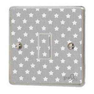 Baby Grey Stars Light Switch Sticker Vinyl / Graphics / Decal / Skin Cover sw8