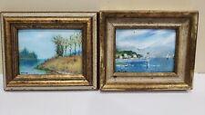 Lot of 2 Signed Belliard Enamel on Copper Framed Miniature Paintings