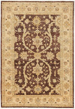 4X6 Hand-Knotted Farhan Carpet Traditional Brown Fine Wool Area Rug D41173