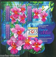 CENTRAL AFRICA 2015 SINGAPORE STAMP EXPO FLOWER SHEET MINT  NH