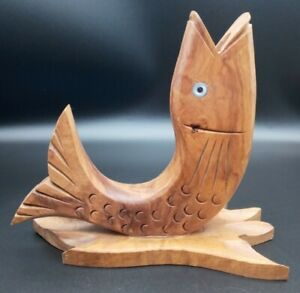 Vintage Spanish Olive Wood Carved Fish Candle Holder with Glass Eyes