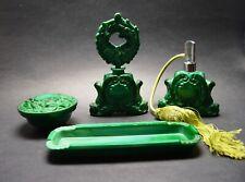 Vtg Czech Art Deco Malachite Glass Toilet Set  Curt Schlevogt