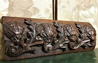 Shell scroll leaf wood carving pediment Antique french architectural salvage