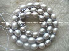 "2strands! freshwater pearl gray egg 9-10mm 15"" wholesale nature beads fashion"