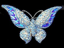 """3.7"""" GORGEOUS Blue Rhinestone Crystal BUTTERFLY Silver TONE Pin BROOCH"""