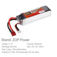 ZOP Power 3S 11.1V 3000mAh 60C T Plug LiPo Battery for F330 FPV Quadcopter H4T2