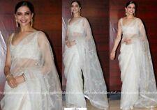 Deepika Padukone White Organza Saree Embroidered Bollywood Silk Sequence Blouse