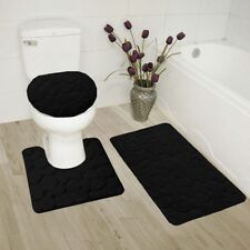 Black Bathroom Set In Bathmats Rugs Toilet Covers Ebay