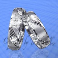 2 Eheringe Trauringe m. 3 Stein Silber 925 Gravur J26-3
