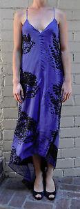 Robert Rodriguez Blue Black Silk Long Dress 6 Womens
