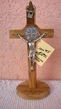 MEDJUGORJE St. Benedict wall standing Handmade Cross Crucifix OLIVE wood 6.2 inc