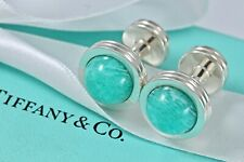 Tiffany & Co. Paloma Picasso Sterling Silver Amazonite Round Groove Cuff Links