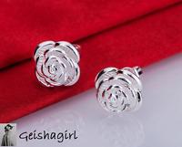 925 Sterling Silver RoseStud Earrings Ear Jewellery WomenUK Seller