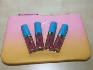 4X Tarte H20 Lip Gloss Sail Away .033oz each Deluxe Sample NEW + Bag