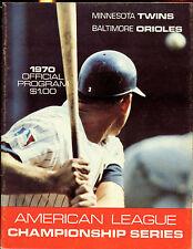 1970 ALCS Program Baltimore Orioles at Minnesota Twins EX+