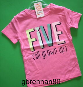 """~NEW~ 5th Birthday """"FIVE"""" Baby Girls Shirt 5T SS 5 Years PINK Gift Carters Party"""