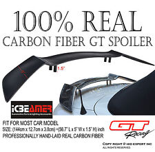 """JDM Universal 57"""" Real Carbon Fiber GT Rear Trunk Spoiler Wing [Racing Style] H1"""