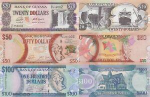 Guyana 3 Note Set: 20, 50 & 100 Dollars (ND/2016) - p30f, p41 & p36c sig. 15 UNC
