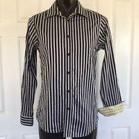 Ben Sherman Black Grey Striped Long Sleeve Button Up Dress Shirt Size L Contrast