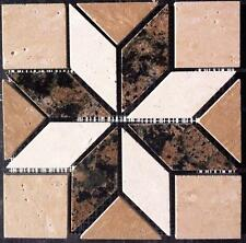 "6""x6"" Granite & Tile Medallion, Baltic Brown granite, Travertine mimic tile"