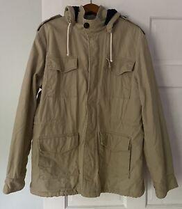 Vintage Levi Khaki Sporting Jacket Safari Men's Large Canvas Zip Hood