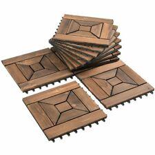 11 PCS Interlocking Wood Deck Tiles Patio Pavers Floor