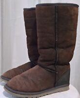 Original UGG Australia TALL BRAID BLACK Brown Grey Sheepskin Boots Womens 6