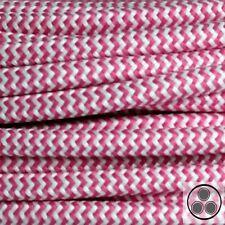 Textilkabel Stoffkabel Lampen-Kabel Stromkabel, Pink Zick Zack 3 adrig