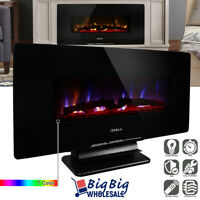"""1400W Adjustable 36"""" Wall Mount/Standing Electric Fireplace Heater LED w/ Remote"""