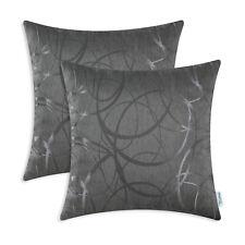 "2Pcs Grey Cushion Covers Throw Pillows Cases Circles Rings Geometric Home 16x16"""