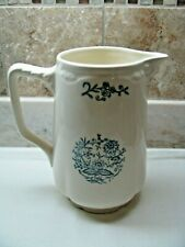 Gorgeous Antique White Pitcher with Blue Flowers - No Chips - No Makers Mark