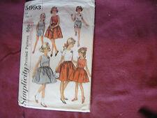 Vtg Simplicity Pattern 5993 Girls Dress Shirt Shorts 1965 Sz 7 Child Zipper
