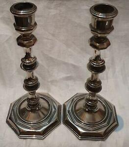 "Antique Pair Great Candlesticks Georgian Style Height 8"" (20.5 Cm) Stunning Pair"