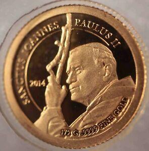 Tanzania 1500 Shillings 2014 Pope John Paul 0.5 gr 9999 Gold [426