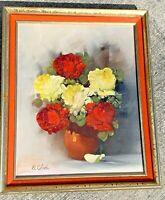 Pennsylvania Artist ELEANOR COLOSI Original Art Yellow & Red ROSE GARDEN VASE